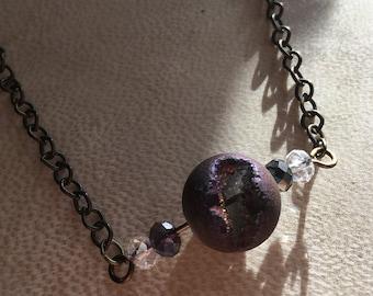 Crystal Eclipse Necklace Boho Beaded Bronze Jewelry Druzy Stone
