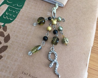 Loki Bookmark Beaded Book Thong Green and Gold Snake God of Mischief