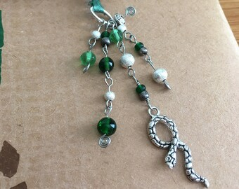 Slytherin Bookmark Beaded Book Thong Hogwarts Snake Green & Silver