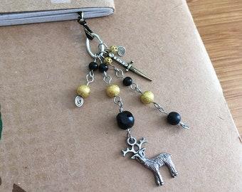 House Baratheon Bookmark Beaded Book Thong Deer Black & Gold