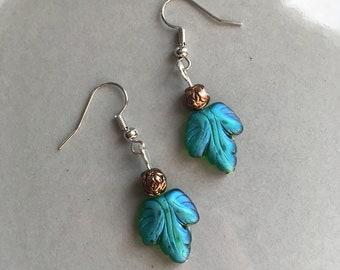 Grape Leaf Earrings Beaded Nature Jewelry Green Leaves