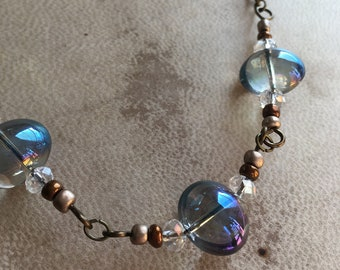 Bronze Beaded Bubble Necklace Handmade Boho Jewelry Adjustable