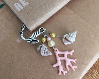 Coral Mermaid Bookmark Metal Shepherds Hook Tropical Beach Reading