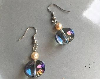 Glass Bubble Earrings Beaded Grey Jewelry Hypoallergenic Metal