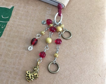 Gryffindor Bookmark Beaded Book Thong Red & Gold Hogwarts Lion