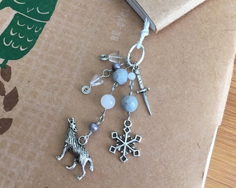 House Stark Bookmark Beaded Book Thong Winter Dire Wolf Fantasy