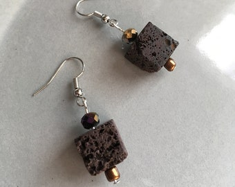 Lava Rock Earrings Beaded Cube Jewelry Crystal and Stone