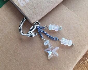 Crystal Starfish Mermaid Bookmark Metal Shepherds Hook Summer Vacation Reading