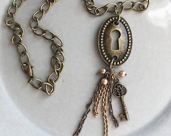 Bronze Keyhole Necklace Handmade Key Jewelry Boho Gypsy