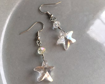 Crystal Starfish Earrings Beaded Sparkly Tropical Jewelry Beach Fashion