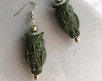 Green Owl Earrings Beaded Jewelry Boho Bird Hypoallergenic Metal