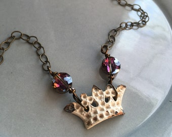 Crystal Crown Necklace Boho Beaded Bronze Jewelry Fantasy Queen