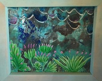 Desert Rain Painting Original Acrylic Art Custom Framed Southwest Boho Décor 8x10