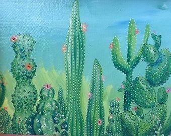 Cactuscape Painting Original Acrylic Art Custom Framed Southwest Boho Décor 8x10