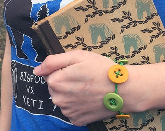 Citrus Button Bracelet Boho Summer Green and Yellow Wrap Jewelry
