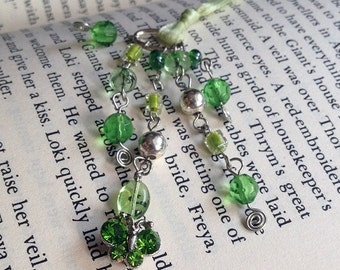Green Butterfly Bookmark Beaded Ribbon Book Thong Spring Crystal Reader Gift