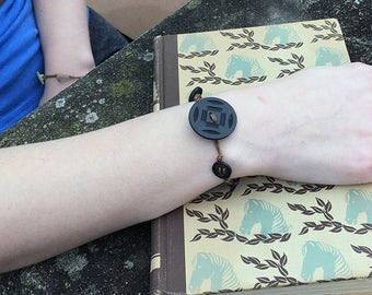 Black Button Bracelet Vintage Buttons Simple Wrap Bracelet Boho Jewelry