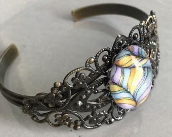 Art Bracelet Candy Stripe Original Art Cabochon Filigree Cuff Boho Jewelry