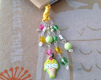 Ice Cream Cone Bookmark Beaded Book Thong Bright Summertime Reading Book Club