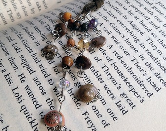 Petite Seashell Bookmark Beaded Leather Book Thong Beach Reading Crystal