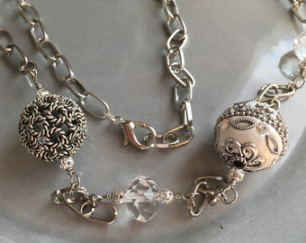 Ornate Silver Beaded Long Necklace Handmade Jewelry Adjustable Sparkle