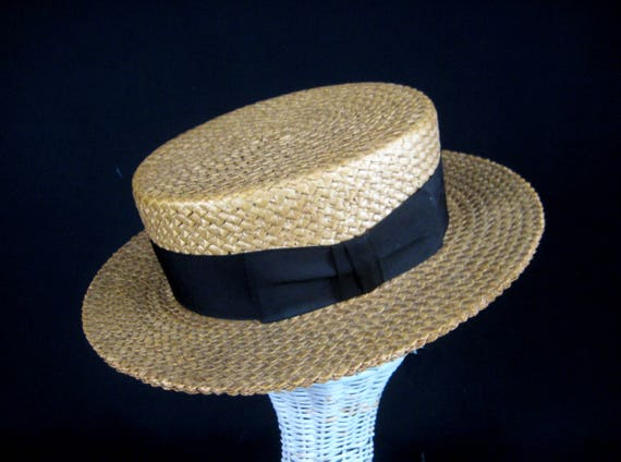 Mens Straw Boater Hat Skimmer Hat 1920s Straw Hat Size 7  1dd78a914d2