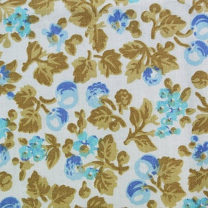 Vintage 1960s printed fabric in highquality unused cotton synthetic with small black flower pattern on light bone yellow bottomcolor