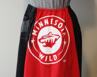 Upcycled A-line T-shirt Skirt - Minnesota Wild in reds and blacks with gray/black striped pocket - One Size Drawstring