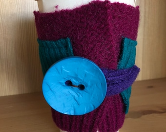 Upcycled Felted Wool Sweater Coffee Cup Cozy - magenta and teal with bright blue button
