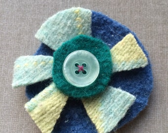 Recycled wool sweaters Hair clip/pin--you choose which--Green/blue/teal flower with blue button
