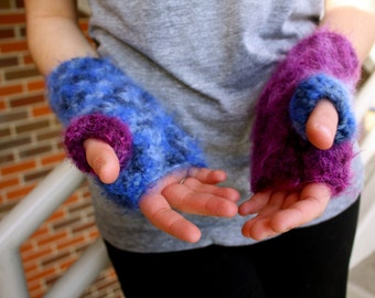 Fuzzy Fingerless Mittens- purple and blue