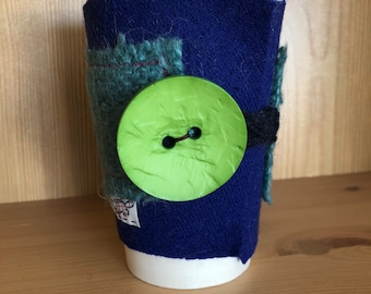Upcycled Felted Wool Sweater Coffee Cup Cozy - blue and aqua with bright green button