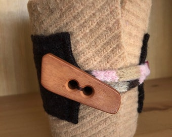 Upcycled Felted Wool Sweater Coffee Cup Cozy - light brown and dark brown with tan toggle button