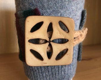 Upcycled Felted Wool Sweater Coffee Cup Cozy - Gray and Fall Stripes with Light Brown Button