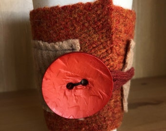 Upcycled Felted Wool Sweater Coffee Cup Cozy - burnt orange and light brown with orange button