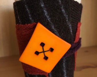 Upcycled Felted Wool Sweater Coffee Cup Cozy - brown stripe and burnt orange with bright orange button