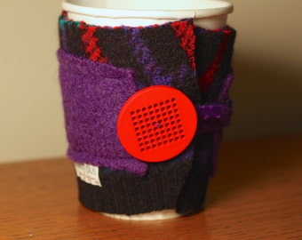 Upcycled Felted Wool Sweater Coffee Cup Cozy - Plaid and Purple with Bright Red Button