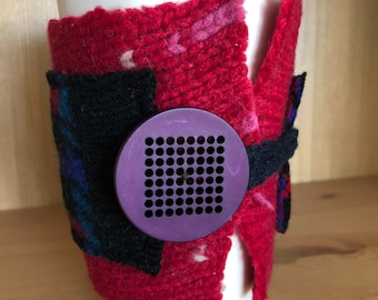 Upcycled Felted Wool Sweater Coffee Cup Cozy - patterned red and red/blue/black plaid with purple button