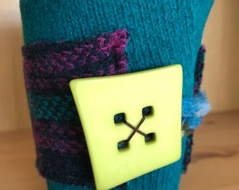 Upcycled Felted Wool Sweater Coffee Cup Cozy - teal and purple/teal plaid with lime green button