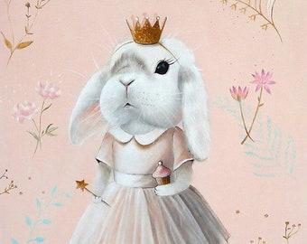 Bunny Art, Nursery Art Print, Bunny Nursery, Bunny Painting, Animal Painting, Nursery wall art, Animal Art PINK whimsical nursery room decor