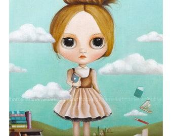 The Book lover...LIMITED EDITION art print Pop Surrealism Fine Art Print ,big eyed , ooak blythe,  girl portrait, queer art fairy tale art