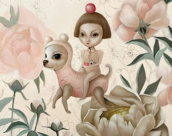 FRAMED The Dream Big Eyes art, Pop Surrealism Fine Art Oil Painting ,chihuahua dog painting, lowbrow art by inameliart