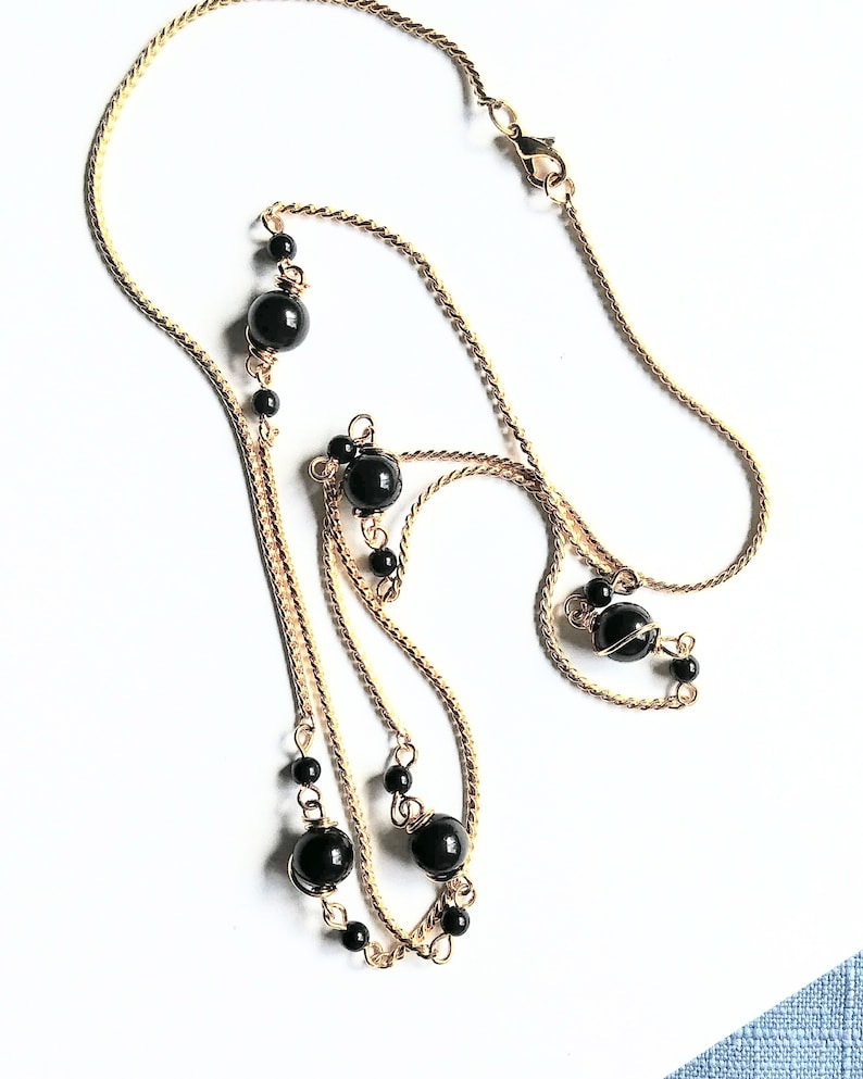 Chain Necklace Collar Black Beads Gold Tone Rope Chain Single image 0