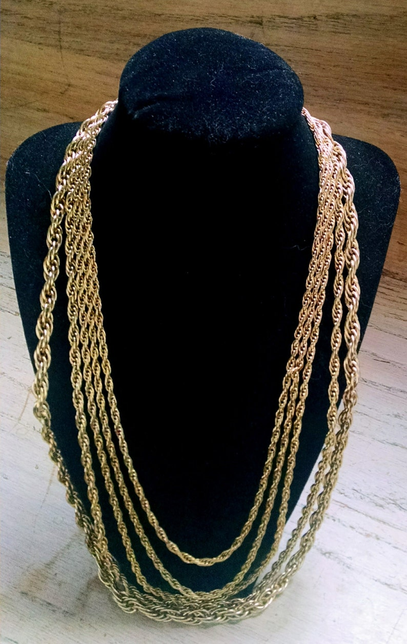 Necklace Collar Gold Tone Chain 5 Strand Vintage Jewelry image 0
