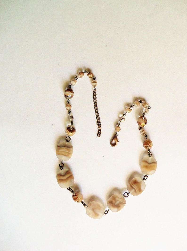 Choker Necklace Collar Frosted Browns Glass Beads Bridal Party image 0