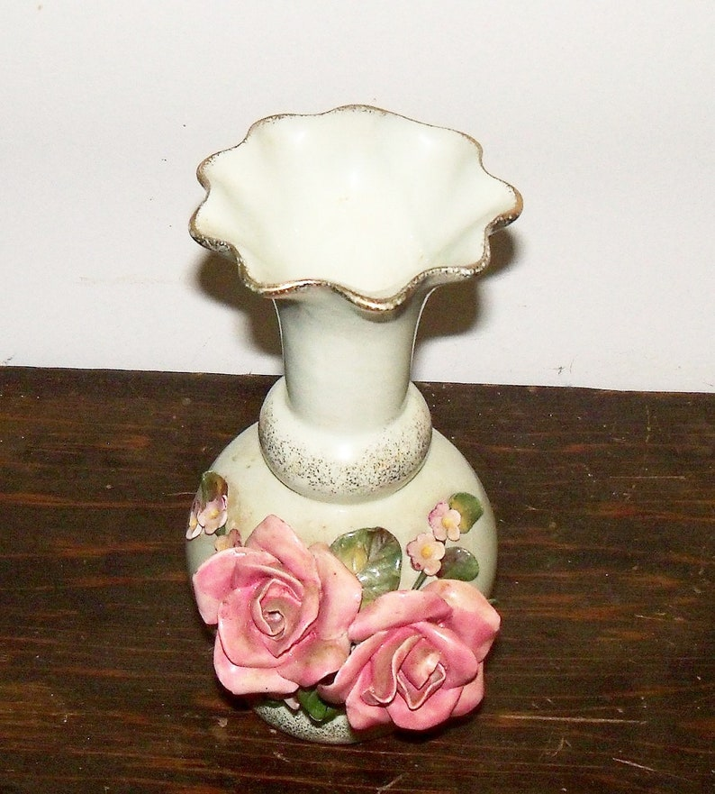 Vintage Vase Pale Green WildWood Pottery with Pink Roses Wedding Christmas Birthday Home Decor Gift for Her