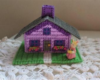 Miniature Purple Easter House Easter Bunny Village