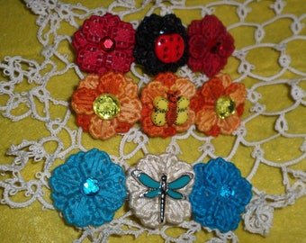 Spring And Summertime French Barrettes Lady bug butterfly dragonfly