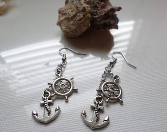 Anchor And Ship's Helm Nautical  Earings