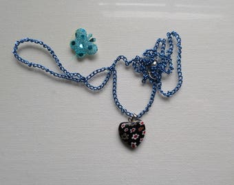 Heart Necklace Blue